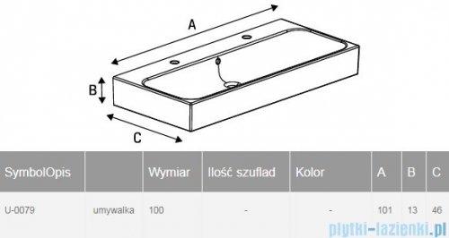New Trendy umywalka ceramiczna z otworami na baterię 100 cm U-0079