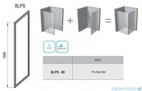 Ravak Blix BLPS ścianka boczna stała 80cm satyna transparent Anticalc 9BH40U00Z1