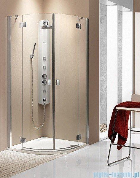 Radaway Kabina prysznicowa Essenza PDD E 90x80 szkło brązowe + brodzik Siros E Compact prawy + syfon