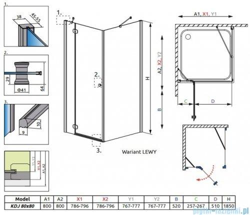 Radaway Torrenta Kdj kabina kwadratowa 80x80 lewa szkło grafitowe 32212-01-05NL