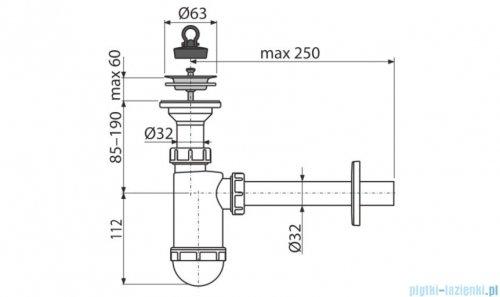 Alcaplast syfon umywalkowy DN32, sitko nierdzewne DN63 A410