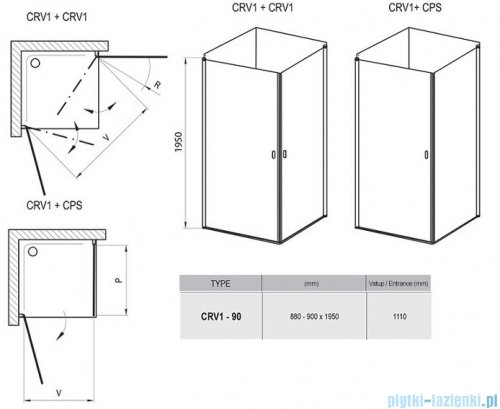 Ravak Chrome CRV1 drzwi prysznicowe 1/2 90cm aluminium transparent 1QV70C01Z1