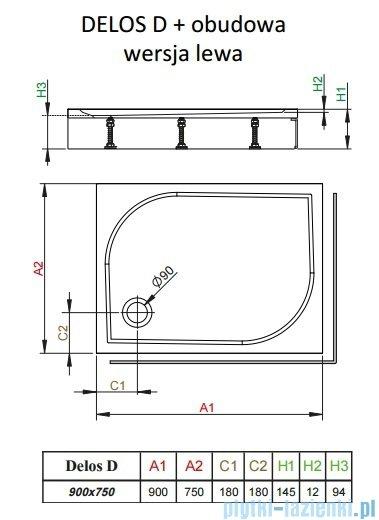 Radaway Brodzik prostokątny Delos D 90x75x14 cm z obudową lewy 4D97514-03L