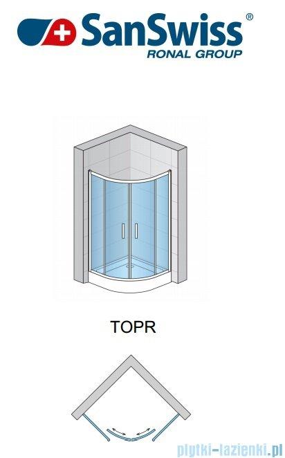 SanSwiss Top-Line TOPR Kabina prysznicowa półokrągła 80cm profil srebrny TOPR550800107