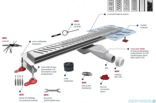 Wiper New Premium Tivano Odpływ liniowy z kołnierzem 80 cm mat