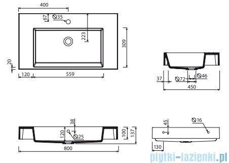 Marmorin Teo 800 umywalka wisząca 80x45 bez otworu przelewowym i z otworem na baterie biała 641080020011