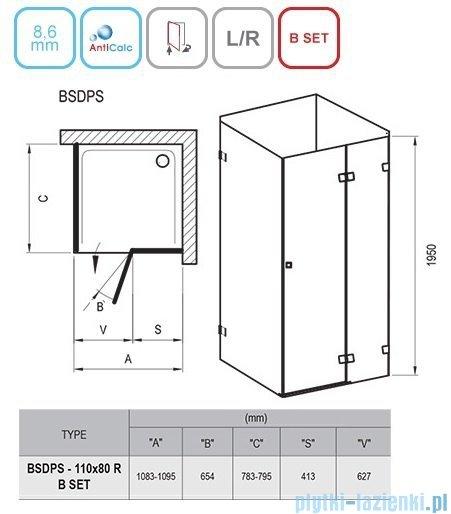 Ravak Brilliant BSDPS kabina prostokątna 110x80cm prawa transparent 0UPD4A00Z1