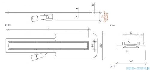 Wiper New Premium Pure Odpływ liniowy z kołnierzem 110 cm szlif rysunek techniczny