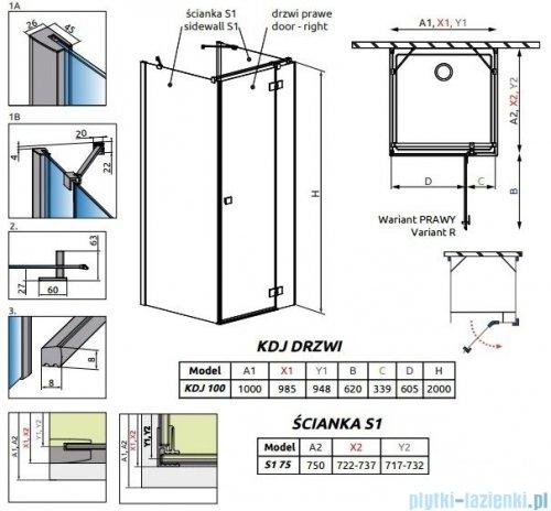 Radaway Essenza New Kdj+S kabina 75x100x75cm prawa szkło przejrzyste rysunek techniczny