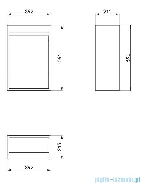 Cersanit Crea szafka wisząca 39x21x59 cm szary S924-014