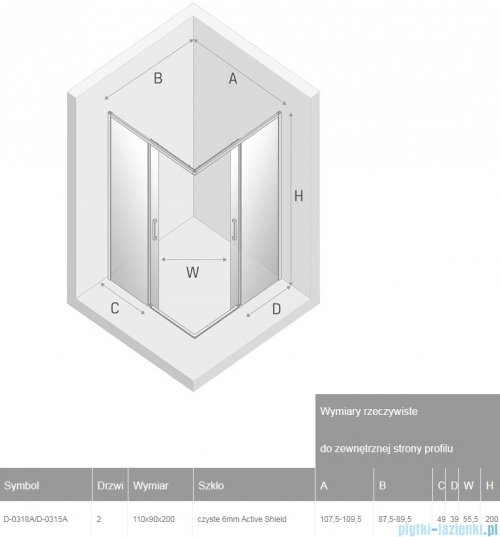 New Trendy Prime Black kabina prostokątna 110x90x200 cm przejrzyste D-0318A/D-0315A