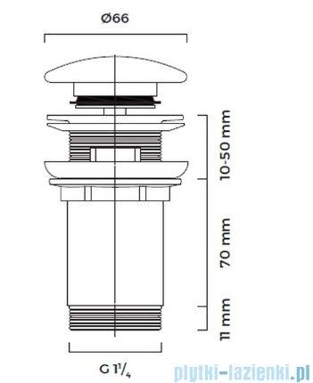 Oltens Halsa korek do umywalki klik klak okrągły z przelewem G1 1/4 złoty 05100800