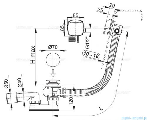 Alcaplast  syfon wannowy z funkcją napełniania przez przelew do wanien grubościennych, chrom A565KM1-100