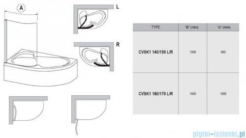 Ravak Rosa Chrome CVSK1 parawan nawannowy 160/170 prawy biały transparent 7QRS0100Y1
