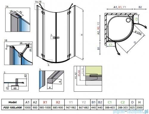 Radaway Essenza New Pdd kabina 100x90cm szkło przejrzyste 385003-01-01L/385001-01-01R