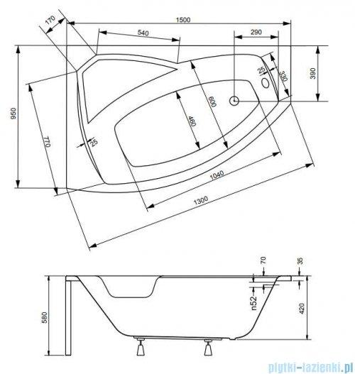 Besco Rima 150x95cm wanna asymetryczna lewa + obudowa + syfon #WAR-150-NL/OAR-150-P/L/19975