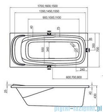 Ravak Wanna prostokątna Vanda II 150x70 CO11000000