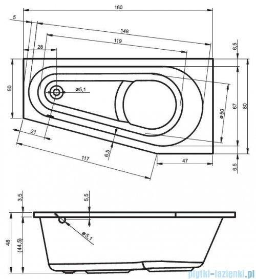Riho Delta wanna asymetryczna lewa 160x80 z hydromasażem TOP Hydro 6+4+2 BB83T2
