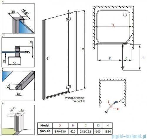 Radaway Almatea DWJ Gold drzwi wnękowe 90 prawe szkło intimato 31102-09-12N