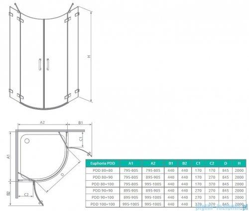 Radaway Euphoria PDD Kabina prysznicowa 90 część lewa szkło przejrzyste 383001-01L