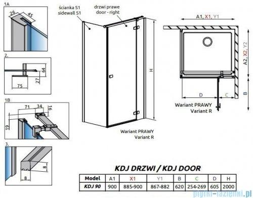 Radaway Fuenta New Kdj drzwi 90cm prawe szkło przejrzyste 384044-01-01R