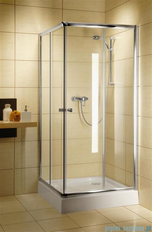 Radaway Classic C Kabina prysznicowa kwadratowa z drzwiami przesuwnymi 90x90 szkło fabric profile białe