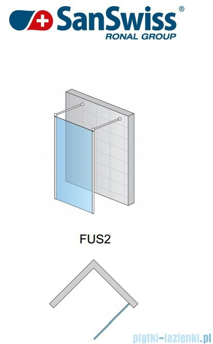SanSwiss Fun Fus2 kabina Walk-in 90cm profil połysk FUS209005007