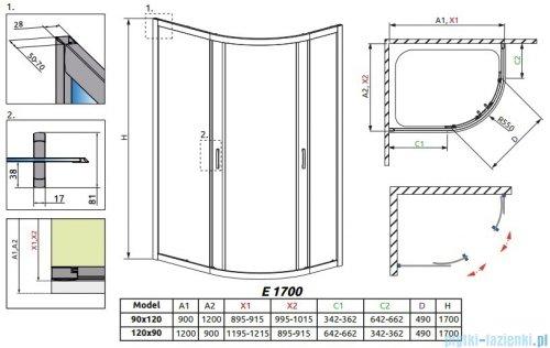 Radaway Premium Plus E Kabina półokrągła z drzwiami przesuwnymi 120x90x170 szkło grafitowe 30483-01-05N