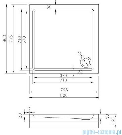 Ravak Angela Basic Kompakt brodzik kwadratowy 80x80cm biały GPX2240135