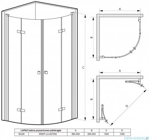 Massi Lapaz kabina półokrągła bifold 90x90x190cm przejrzyste MSKP-LA-007900
