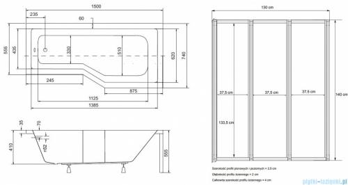 Besco Integra 150x75cm Wanna asymetryczna Prawa + parawan 3-skrzydłowy #WAI-150-PP3