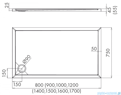 Schedpol Corrina New brodzik prostokątny z SafeMase 100x75x4cm 3.4376