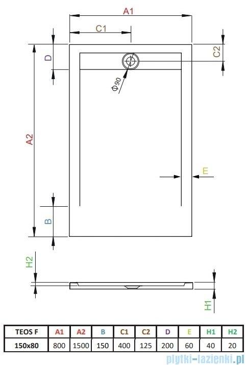 Radaway Teos F brodzik 150x80cm cemento HTF15080-74