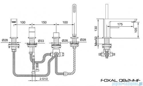 Kohlman Foxal 4-otworowa bateria wannowa z mieszaczem QB244F