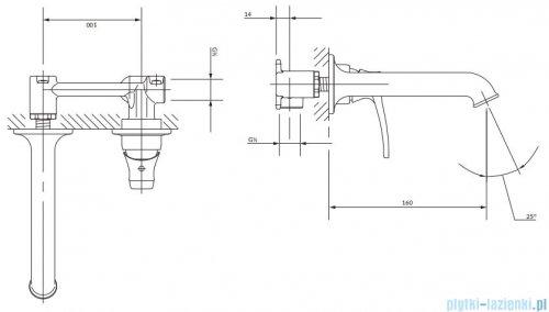 Omnires Art Deco bateria podtynkowa umywalkowa miedź antyczna AD5115ORB