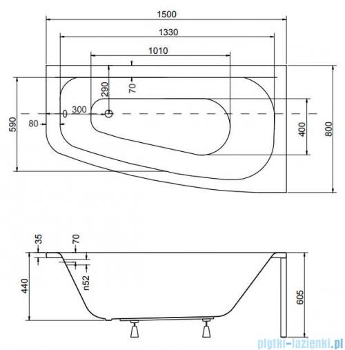 Besco Luna 150x80cm wanna asymetryczna prawa + obudowa + syfon rysunek techniczny