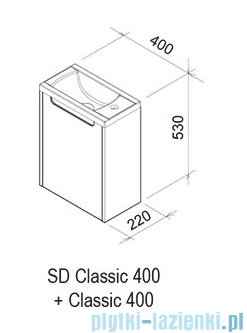 Ravak Classic SD 400 korpus szafki biały X000000416