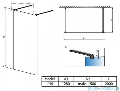 Radaway Modo New Black I 130x200 Frame kabina Walk-in 388134-54-58 rysunek techniczny