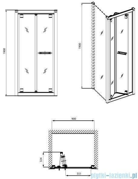 Koło Geo 6 drzwi wnękowe bifold 90 GDRB90222003