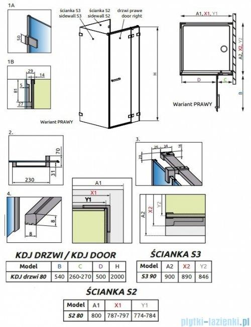 Radaway Euphoria KDJ P Kabina przyścienna 80x90x80 prawa szkło przejrzyste 383512-01R/383241-01R/383031-01/383035-01