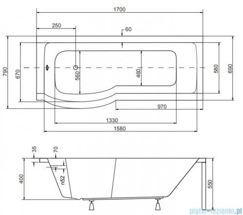Besco Inspiro 170x70cm wanna z parawanem lewa + obudowa + syfon #WAI-170-PLE/#OAI-170-II/19975