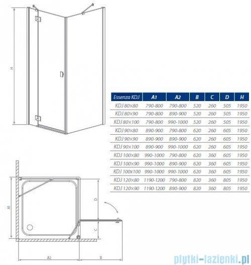 Radaway Kabina prysznicowa Essenza KDJ 80x90 lewa szkło przejrzyste 32846-01-01NL