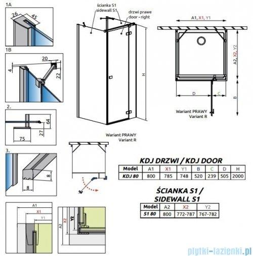 Radaway Fuenta New Kdj+S kabina 80x80x80cm prawa szkło przejrzyste + brodzik Doros C + syfon