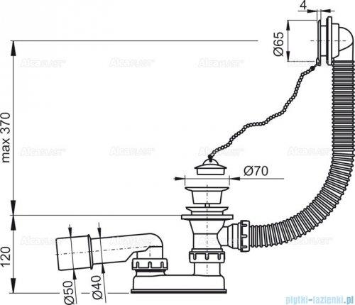 Alcaplast Basic syfon wannowy z korkiem gumowym biały A502