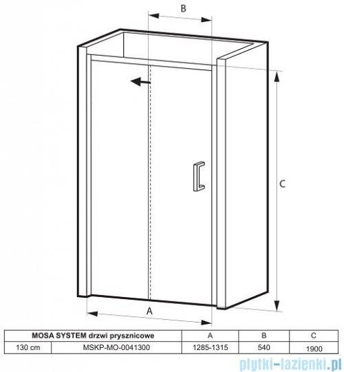 Massi Mosa drzwi prysznicowe przesuwne 130x190cm przejrzyste MSKP-MO-0041300