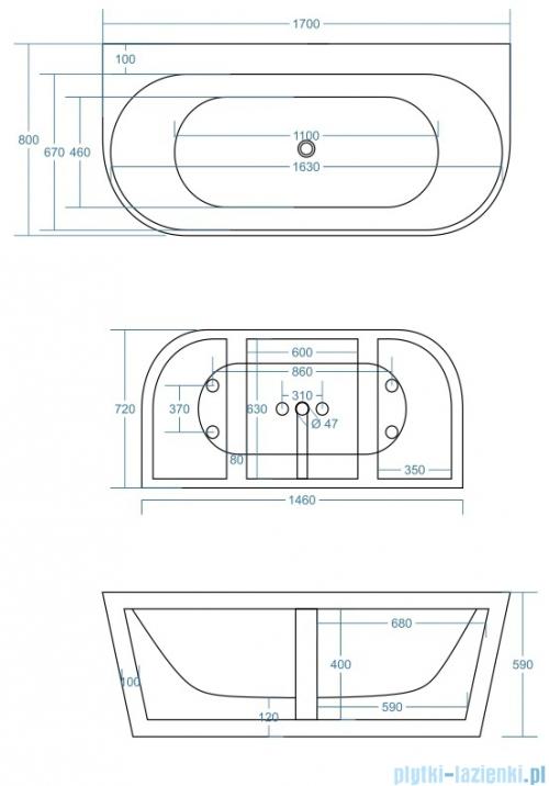 Corsan Mono wanna wolnostojąca przyścienna 170x80 cm biała + syfon klik-klak E-030