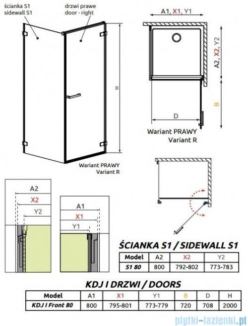 Radaway Arta Kdj I kabina 80x80cm prawa szkło przejrzyste + brodzik Doros C + syfon
