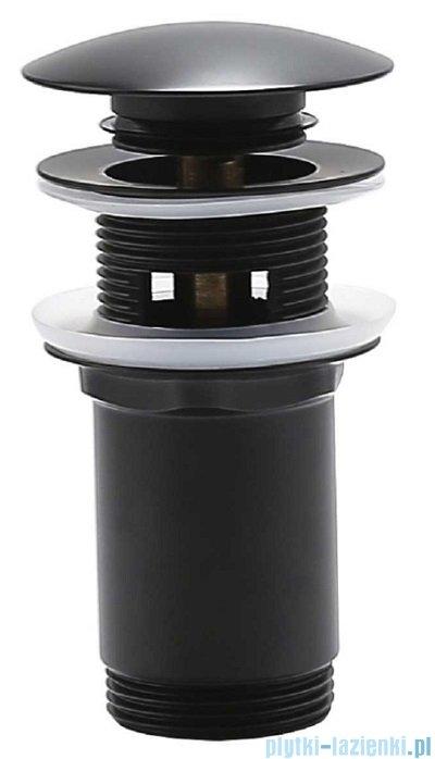 Oltens Halsa korek do umywalki klik klak okrągły z przelewem G 1 1/4 czarny mat 05100300