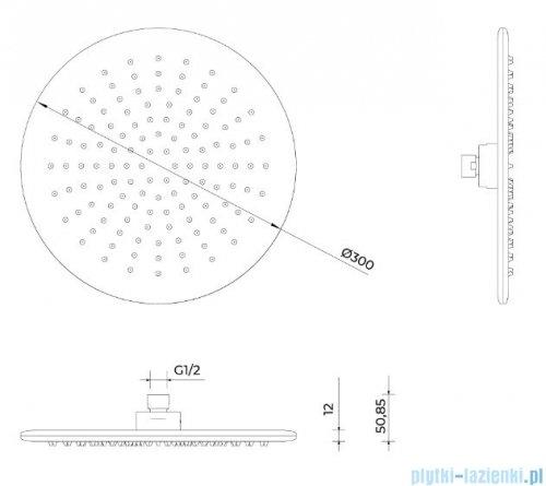 Oltens Sondera Langan deszczownica 30 cm z ramieniem ściennym chrom 36013100