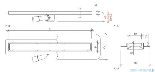 Wiper New Premium Pure Odpływ liniowy z kołnierzem 50 cm poler 100.1973.01.050